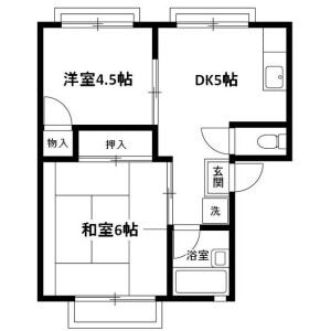 2DK Apartment in Sashiogiryobessho - Saitama-shi Nishi-ku Floorplan