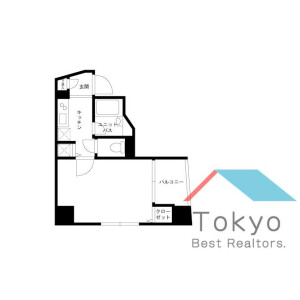 1K Mansion in Higashienokicho - Shinjuku-ku Floorplan
