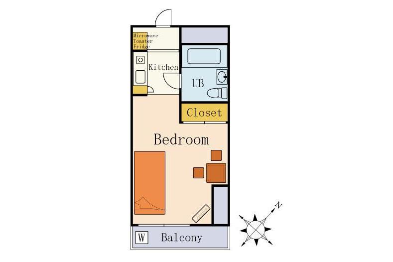 1K Serviced Apartment to Rent in Ebina-shi Floorplan