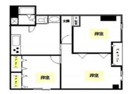 3DK Apartment to Buy in Shinjuku-ku Floorplan