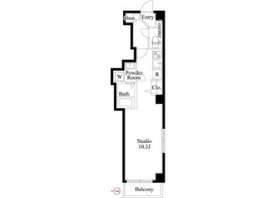 在江东区内租赁1R 公寓大厦 的 楼层布局