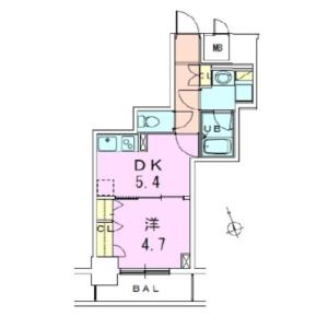 中央区 - 湊 公寓 1DK 房間格局