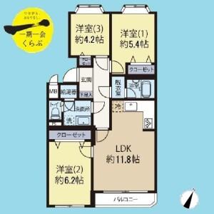 3LDK {building type} in Himonya - Meguro-ku Floorplan