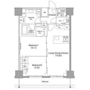 世田谷區太子堂-2LDK公寓大廈 房間格局