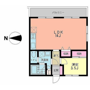 1LDK Apartment in Yoga - Setagaya-ku Floorplan