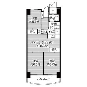 3DK Mansion in Kashiihama - Fukuoka-shi Higashi-ku Floorplan