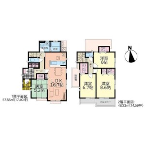 4LDK House in Kamitomino - Kitakyushu-shi Kokurakita-ku Floorplan