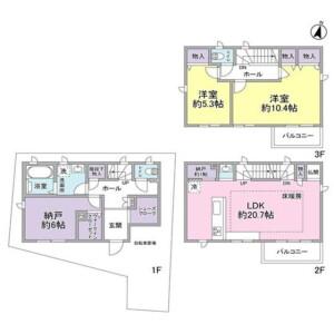 目黒区下目黒-2SLDK独栋住宅 楼层布局