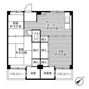 3DK Mansion in Kuzunohacho - Izumi-shi Floorplan