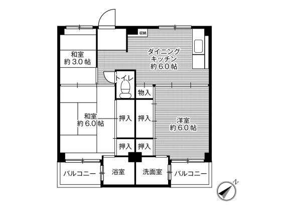 3DK Apartment to Rent in Izumi-shi Floorplan