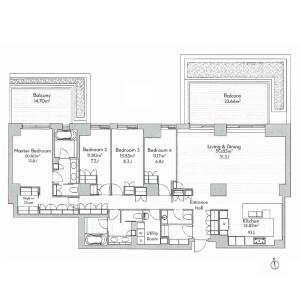 港區元麻布-4LDK公寓 房間格局