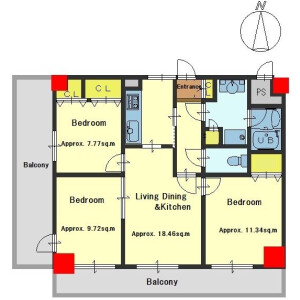 3LDK Apartment in Inabacho - Kyoto-shi Kamigyo-ku Floorplan
