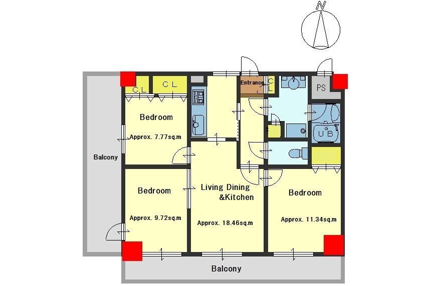 3LDK Apartment to Buy in Kyoto-shi Kamigyo-ku Floorplan