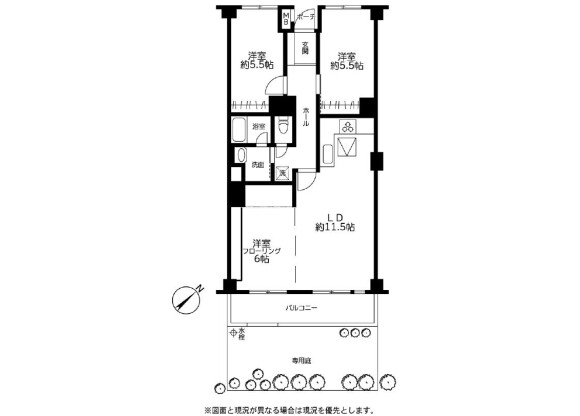 3LDK Apartment to Rent in Setagaya-ku Floorplan
