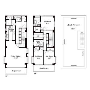 3LDK Apartment in Minamiazabu - Minato-ku Floorplan