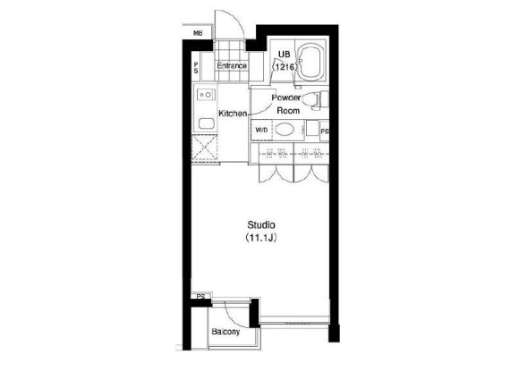1R Apartment to Rent in Shibuya-ku Floorplan