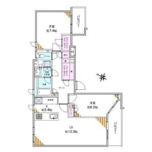 2LDK Apartment in Shirokanedai - Minato-ku Floorplan