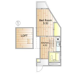 1K Apartment in Tairamachi - Meguro-ku Floorplan
