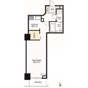 1K Apartment in Daiba - Minato-ku Floorplan