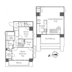 港区西麻布-1SLDK公寓 楼层布局