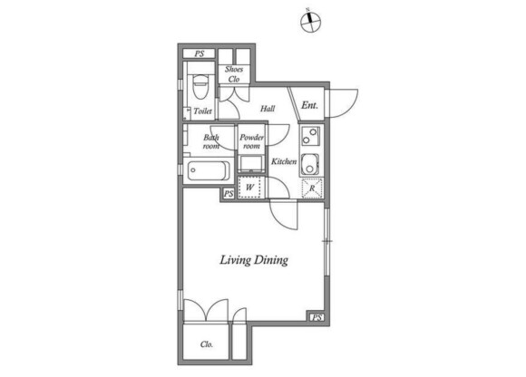 1K Apartment to Rent in Shinagawa-ku Floorplan