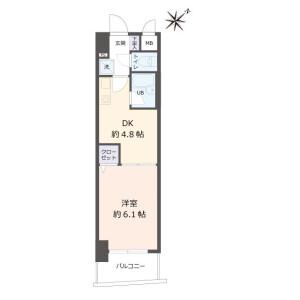 1DK {building type} in Tominagacho - Kyoto-shi Shimogyo-ku Floorplan
