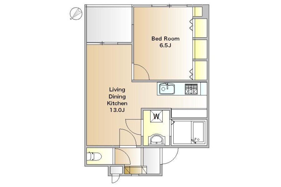 1LDK Apartment to Rent in Meguro-ku Floorplan