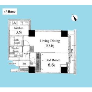 1LDK {building type} in Toyosu - Koto-ku Floorplan