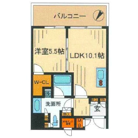 1LDK Mansion in Nishishinjuku - Shinjuku-ku Floorplan