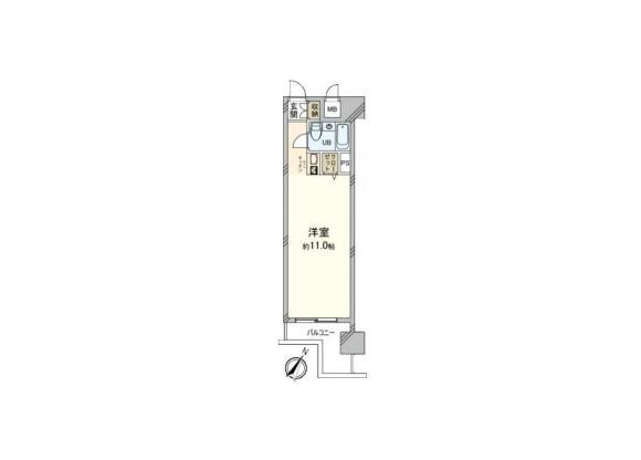 1R Apartment to Buy in Yokohama-shi Naka-ku Floorplan
