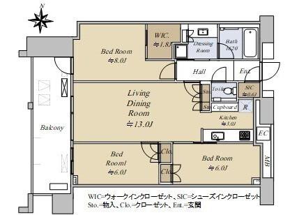 在江东区购买3LDK 公寓大厦的 楼层布局
