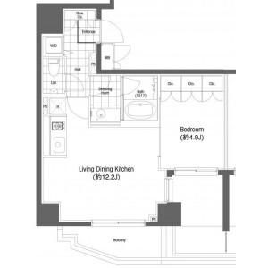 1LDK 맨션 in Ebisu - Shibuya-ku Floorplan