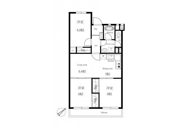 3LDK Apartment to Buy in Saitama-shi Omiya-ku Floorplan