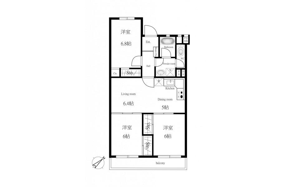 3LDK Apartment to Buy in Saitama-shi Omiya-ku Floorplan