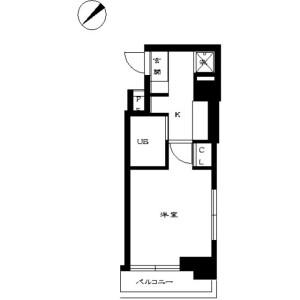 中央區日本橋箱崎町-1K公寓大廈 房間格局