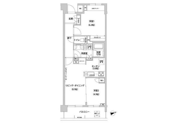 2LDK Apartment to Rent in Meguro-ku Floorplan
