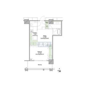 1DK Apartment in Hirakawacho - Chiyoda-ku Floorplan