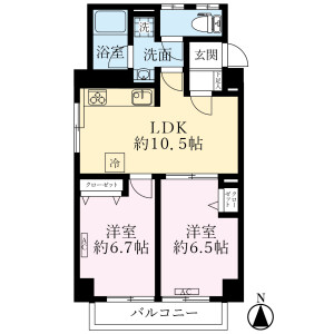 2LDK {building type} in Kamiogi - Suginami-ku Floorplan