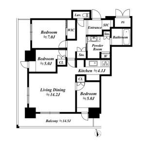 港区芝浦(2〜4丁目)-3LDK公寓大厦 楼层布局