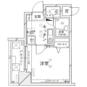 1K Mansion in Bentencho - Shinjuku-ku Floorplan