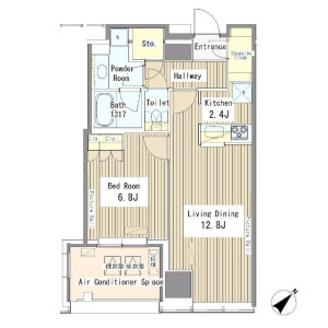 1LDK Apartment in Yoyogi - Shibuya-ku Floorplan
