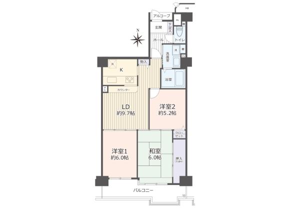 3LDK Apartment to Buy in Saitama-shi Iwatsuki-ku Floorplan