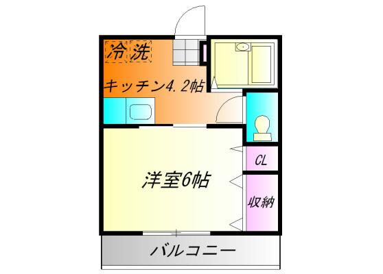 在小田原市內租賃1K 公寓 的房產 房間格局