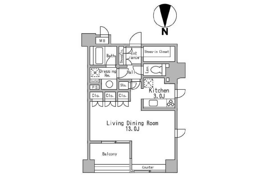 1R Apartment to Rent in Minato-ku Floorplan