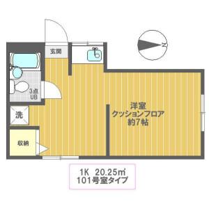 新宿区下落合-1R公寓 楼层布局