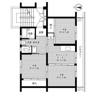 3DK Mansion in Shimoshinnyu - Nogata-shi Floorplan