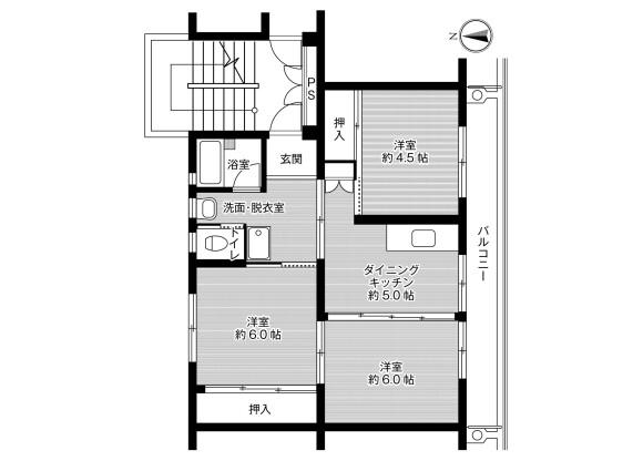 3DK Apartment to Rent in Kurashiki-shi Floorplan