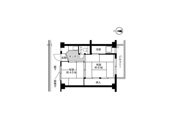 2K Apartment to Rent in Sakai-shi Higashi-ku Floorplan
