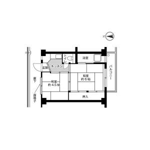 千葉市稲毛區小中台町-2K公寓大廈 房間格局