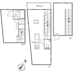 1SLDK Mansion in Motoazabu - Minato-ku Floorplan